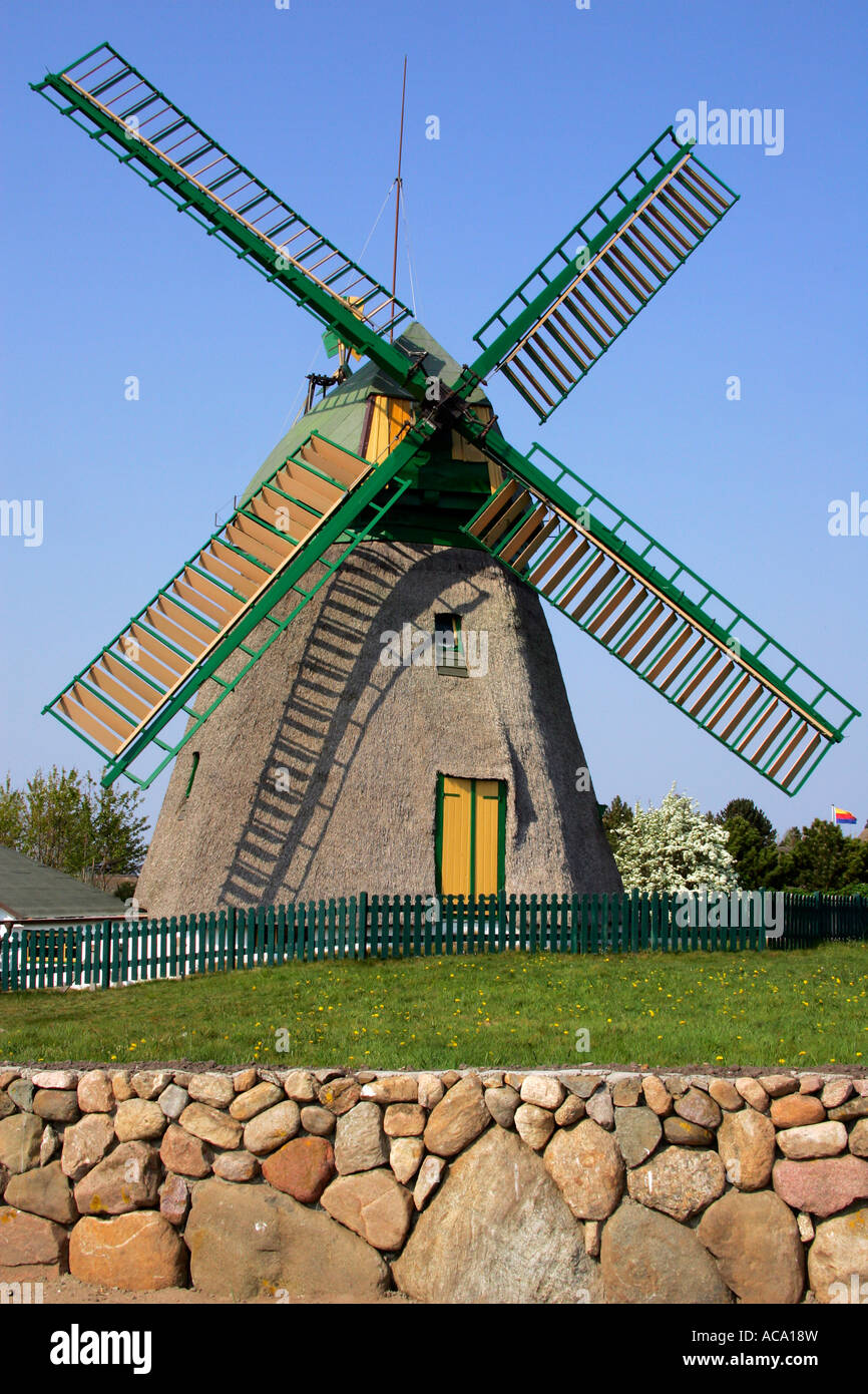 Old windmill build in dutch style - Nebel, Amrum, North Frisia, Schleswig-Holstein, Germany, Europe - Stock Image