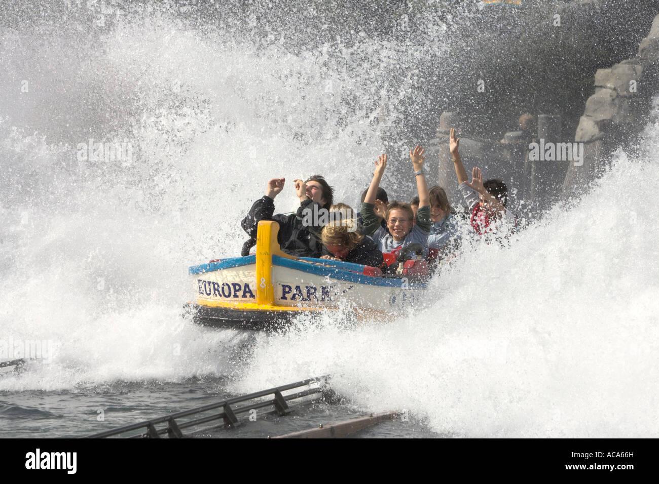 Water roller coaster poseidon, Europa park Rust, Bade-Wuerttemberg, Germany Stock Photo