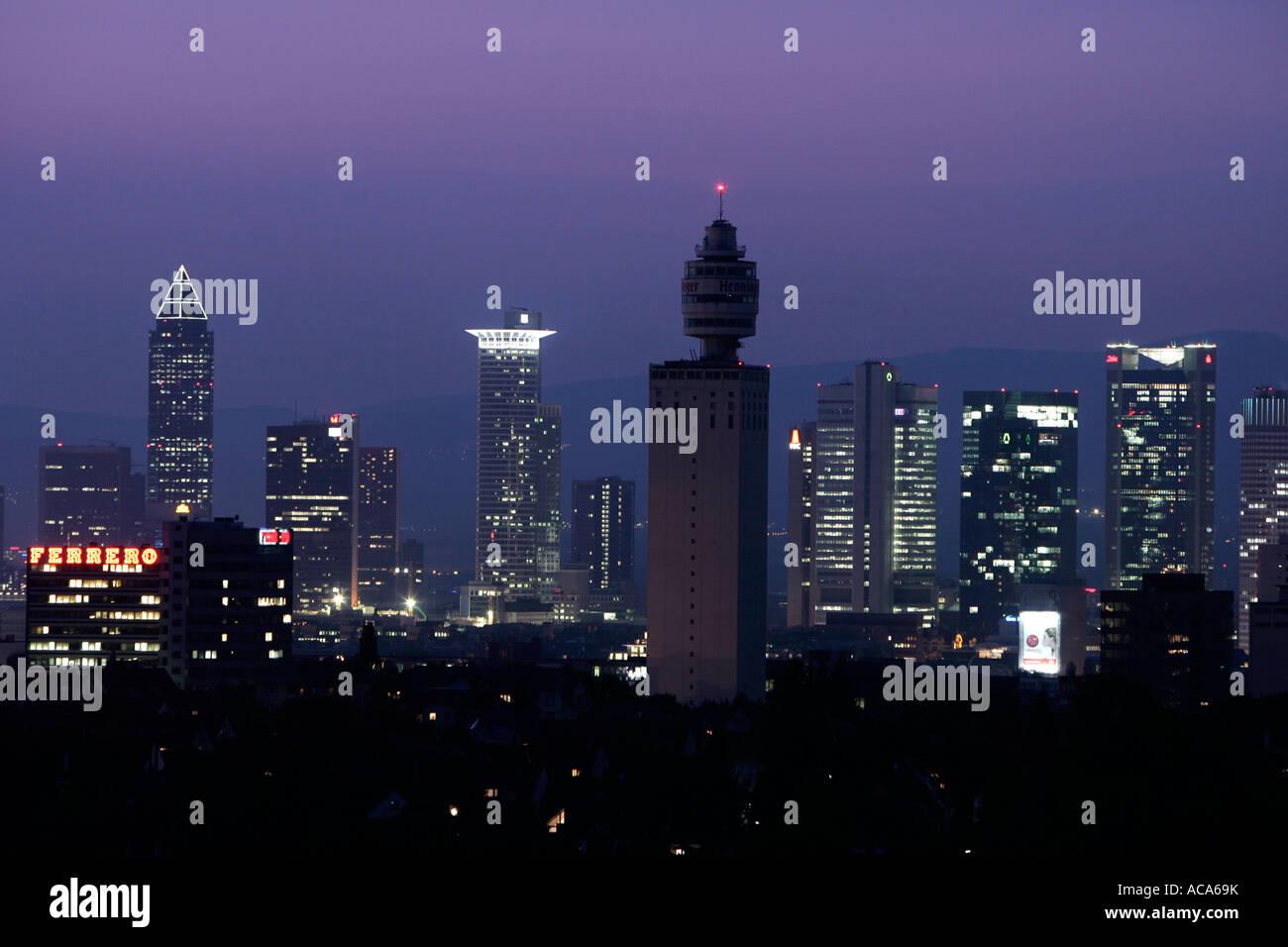 Skyline of Frankfurt am Main with the Henninger tower at night, Frankfurt, Hesse, Germany - Stock Image