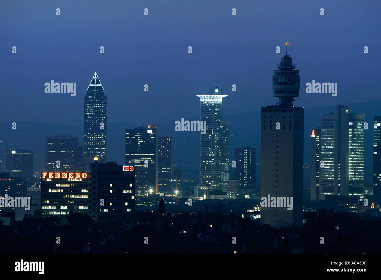 Skyline of Frankfurt am Main with the Henninger tower, at night, Frankfurt, Hesse, Germany - Stock Image