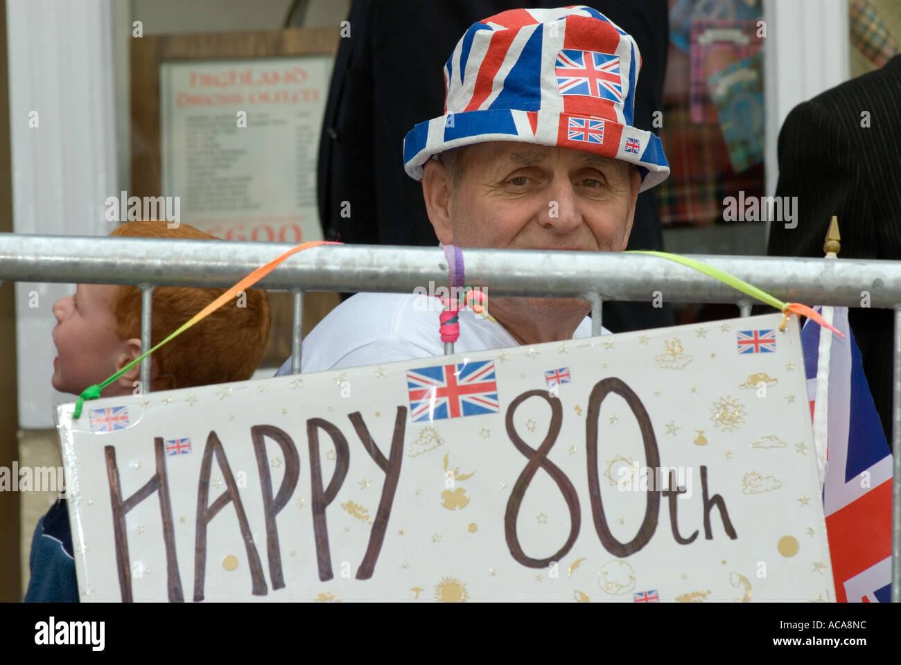 Elderly Man In Hat During Queen S 80th Birthday Celebrations Windsor Castle Berkshire UK