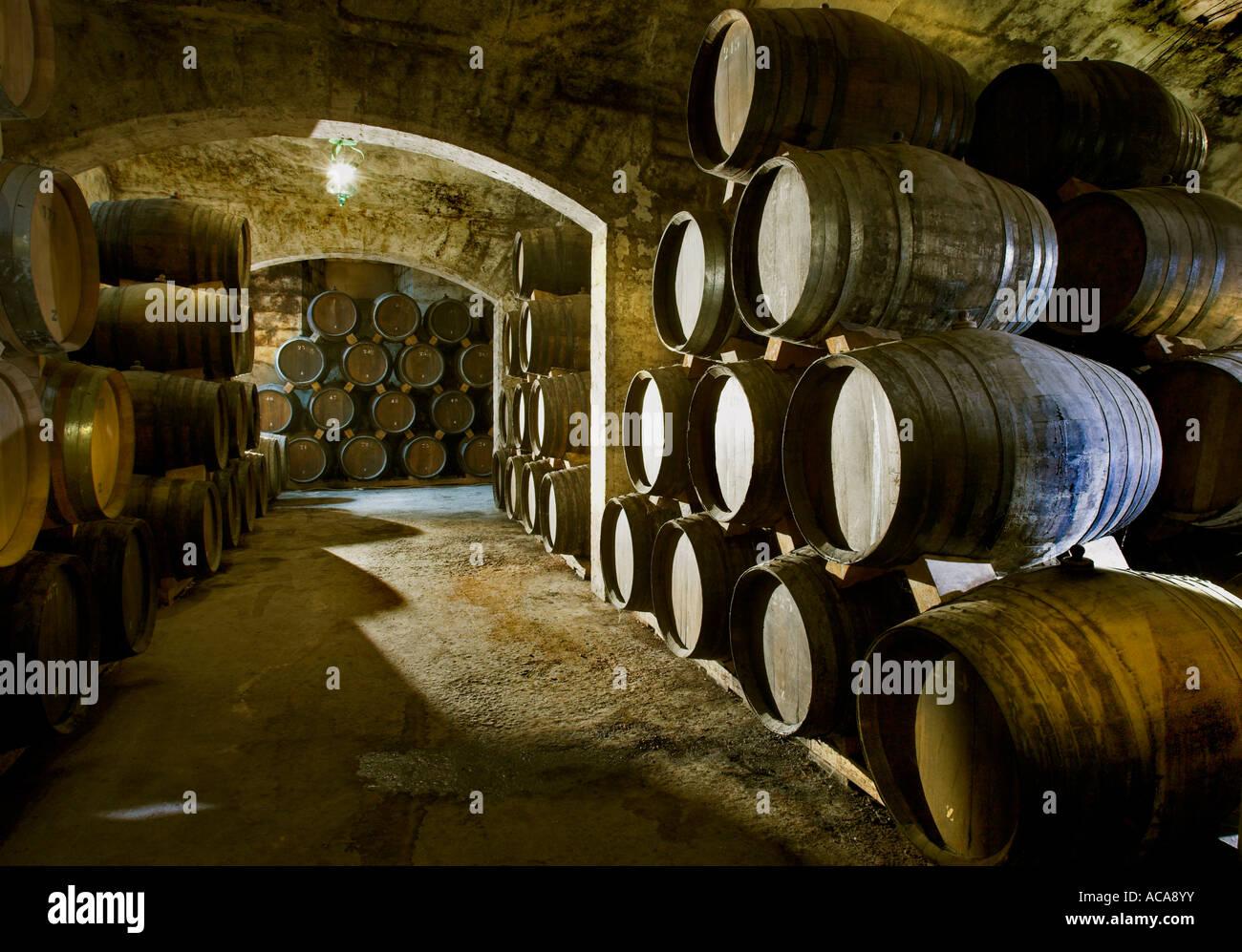 Brandy cellar in the Bodega Suau on Majorca, Spain Stock Photo