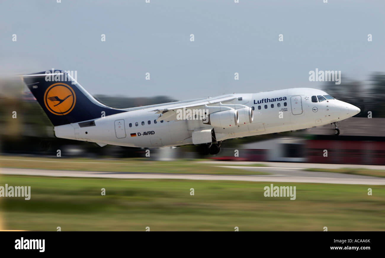 Lufthansa Cityliner Aero RJ 85 taking off - Stock Image