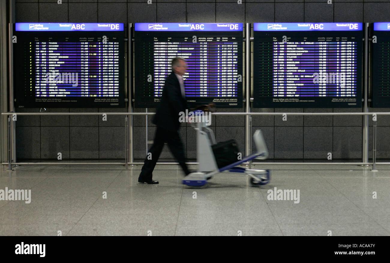 Depature Board at Terminal 1, Airport, Frankfurt, Hesse, Germany Stock Photo