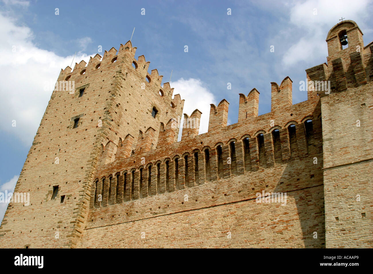 Four sided Castello della Rancia near Tolentino was built in1353 was originally a fortified farmhouse. Stock Photo