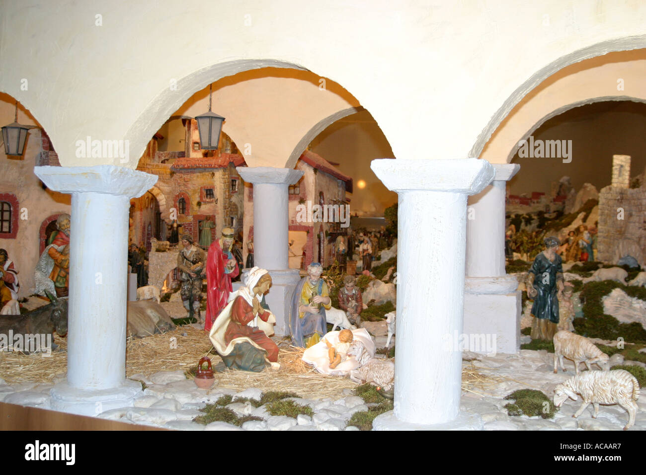 "Spectacular nativity scene in the historic Church of St Nicholas in Tolentino ,""le Marche"", Italy Stock Photo"