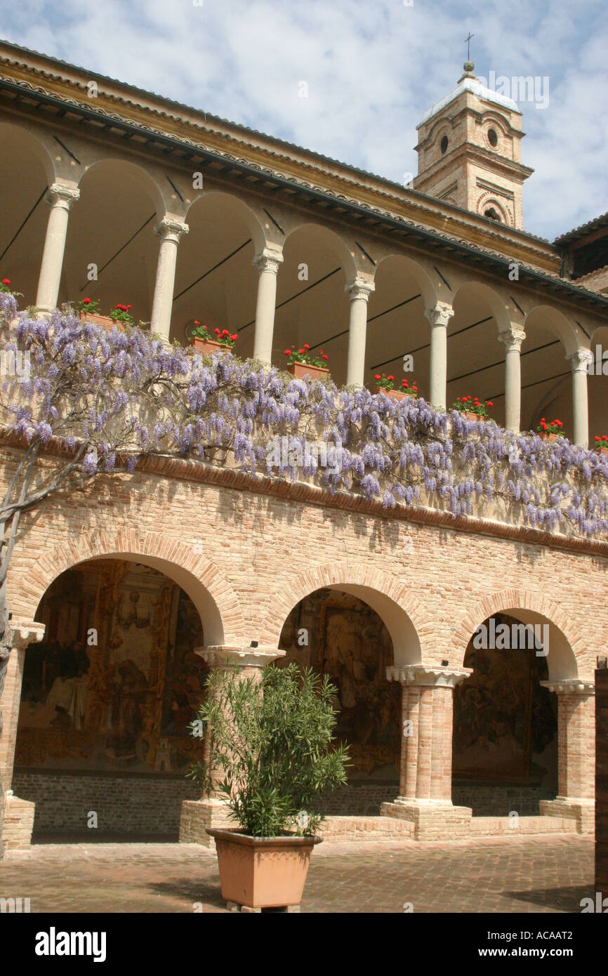 Wisteria ,richly frescoed clad cloisters of the important 12th century Church of Saint Nicholas in Tolentino Le Marche Italy - Stock Image