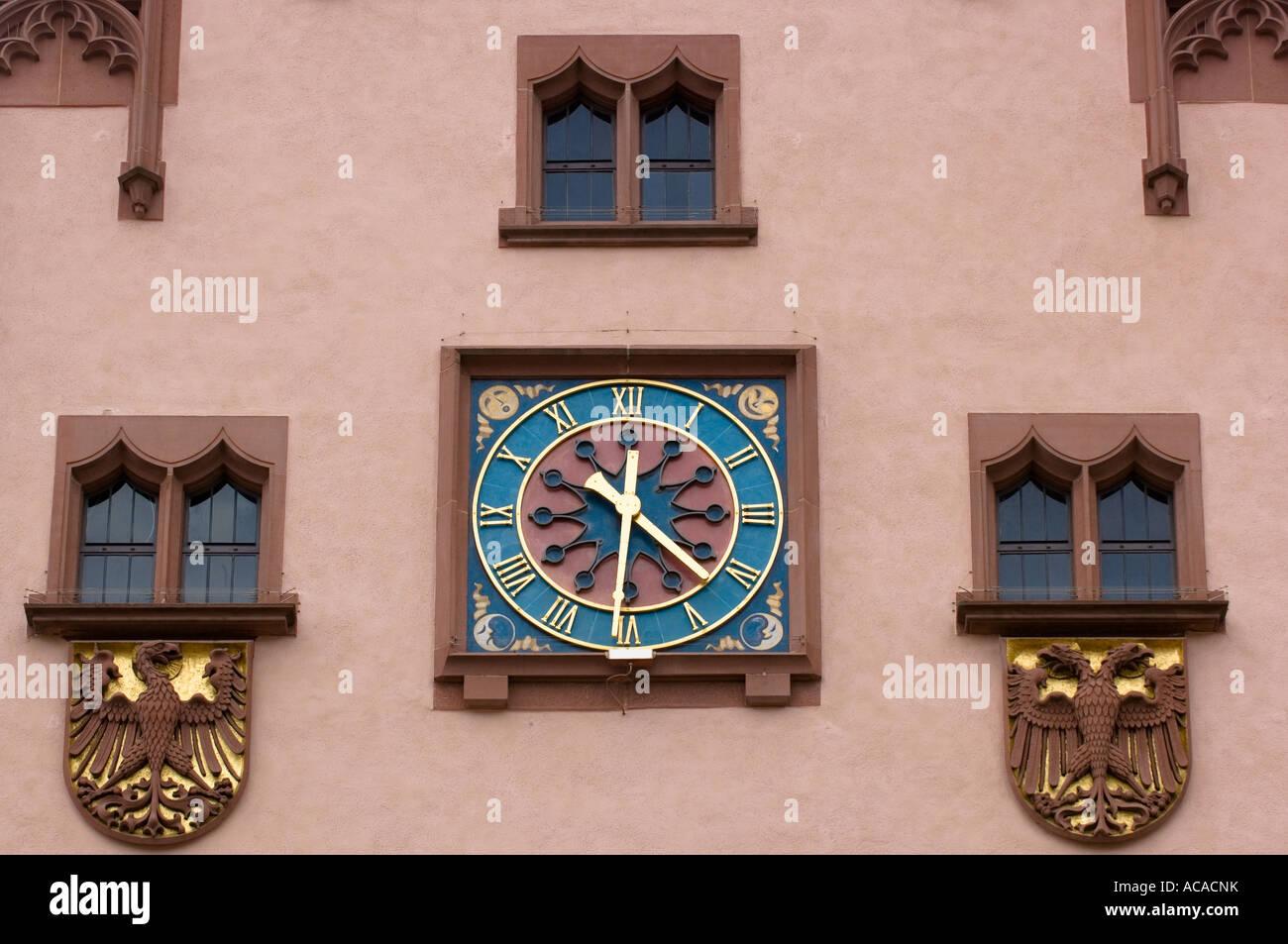 Roemer, cityhall clock, Frankfurt am Main, Hesse, Germany Stock Photo
