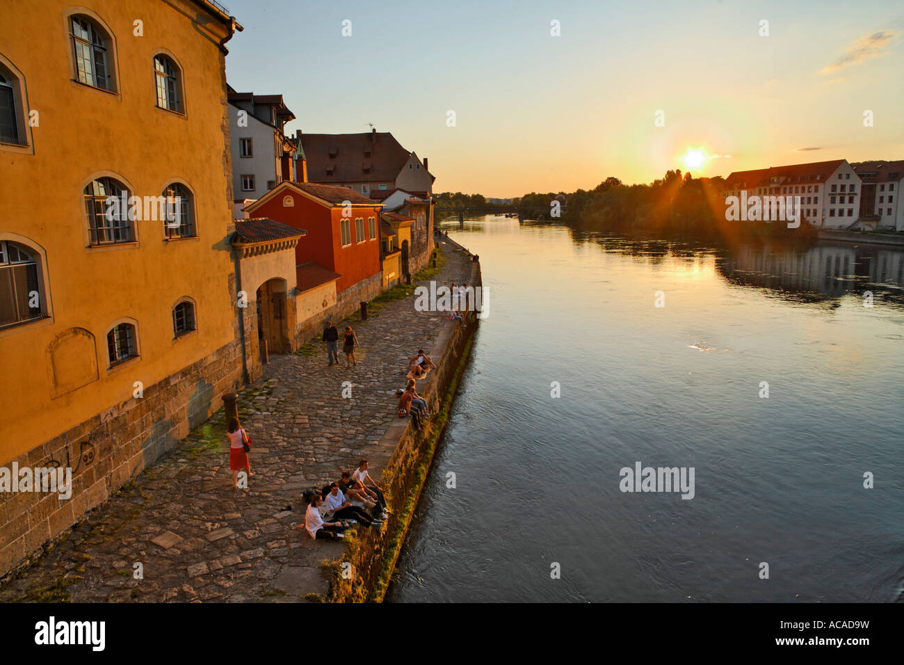 Weinlaende at Danube river, Regensburg, Upper Palatinate, Bavaria, Germany Stock Photo