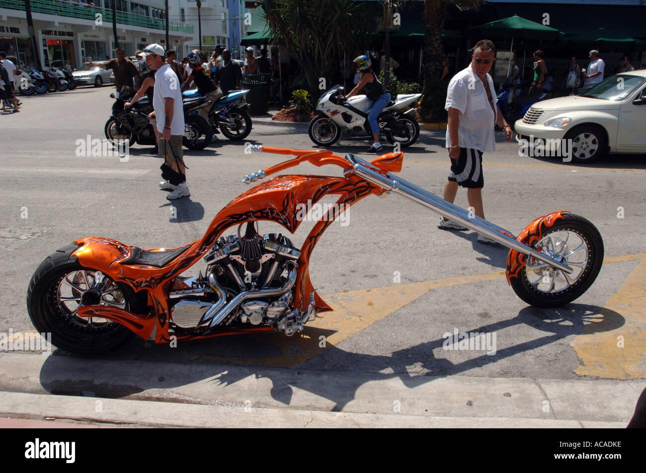 Custom motorbike, Miami, Florida, USA - Stock Image