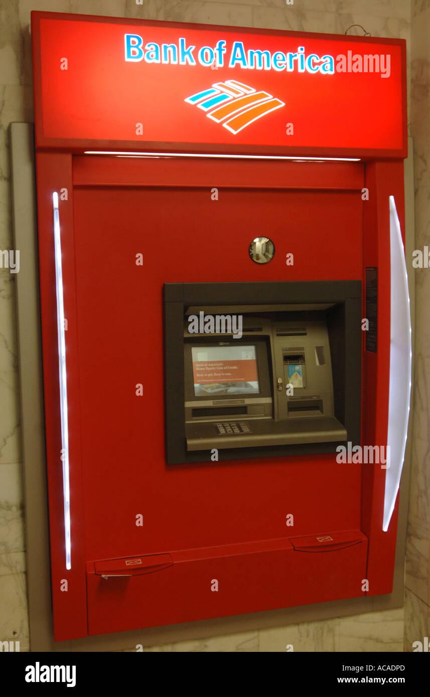 Bank of America cash machine Art Deco area South Beach Miami Florida USA - Stock Image