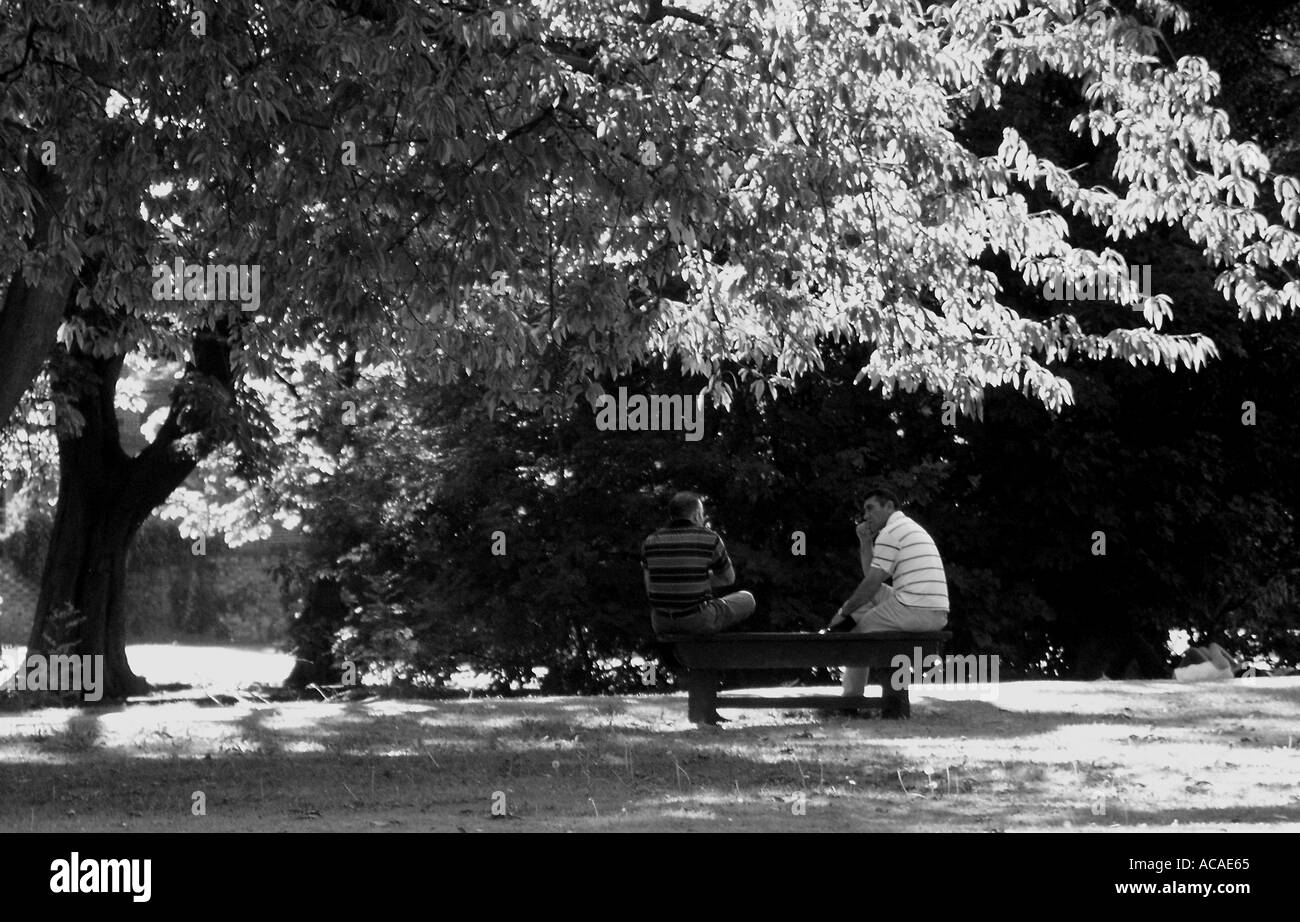 Two Men Talking On Park Bench In Bedford Stock Photo 831077 Alamy
