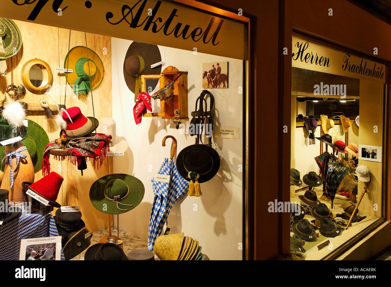 Hat store Hut Koenig, Regensburg, Upper Palatinate, Bavaria, Germany - Stock Image