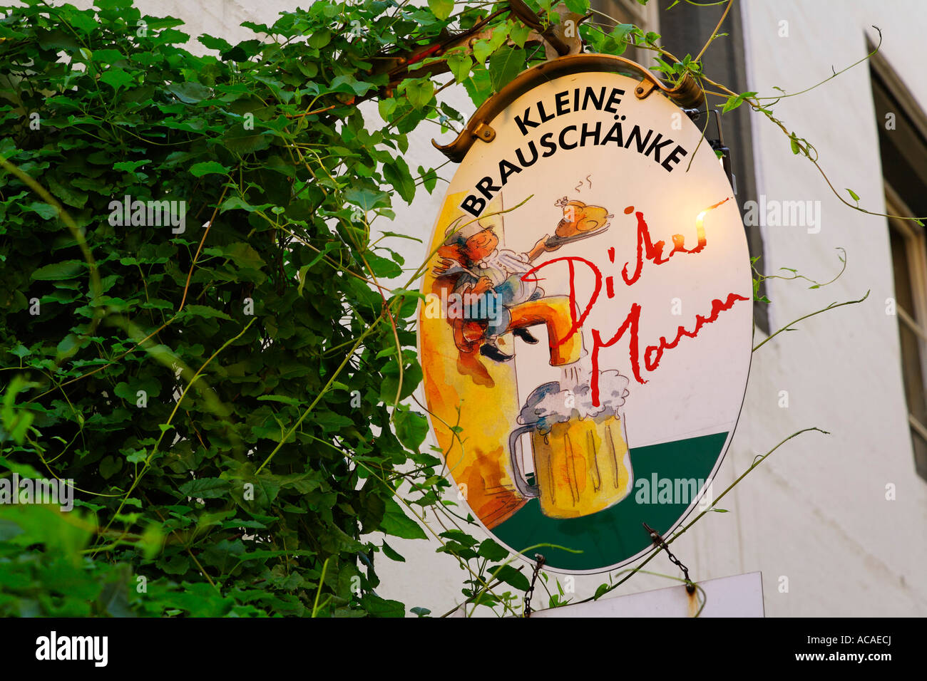 Inn sign Dicker Mann, Regensburg, Upper Palatinate, Bavaria, Germany - Stock Image