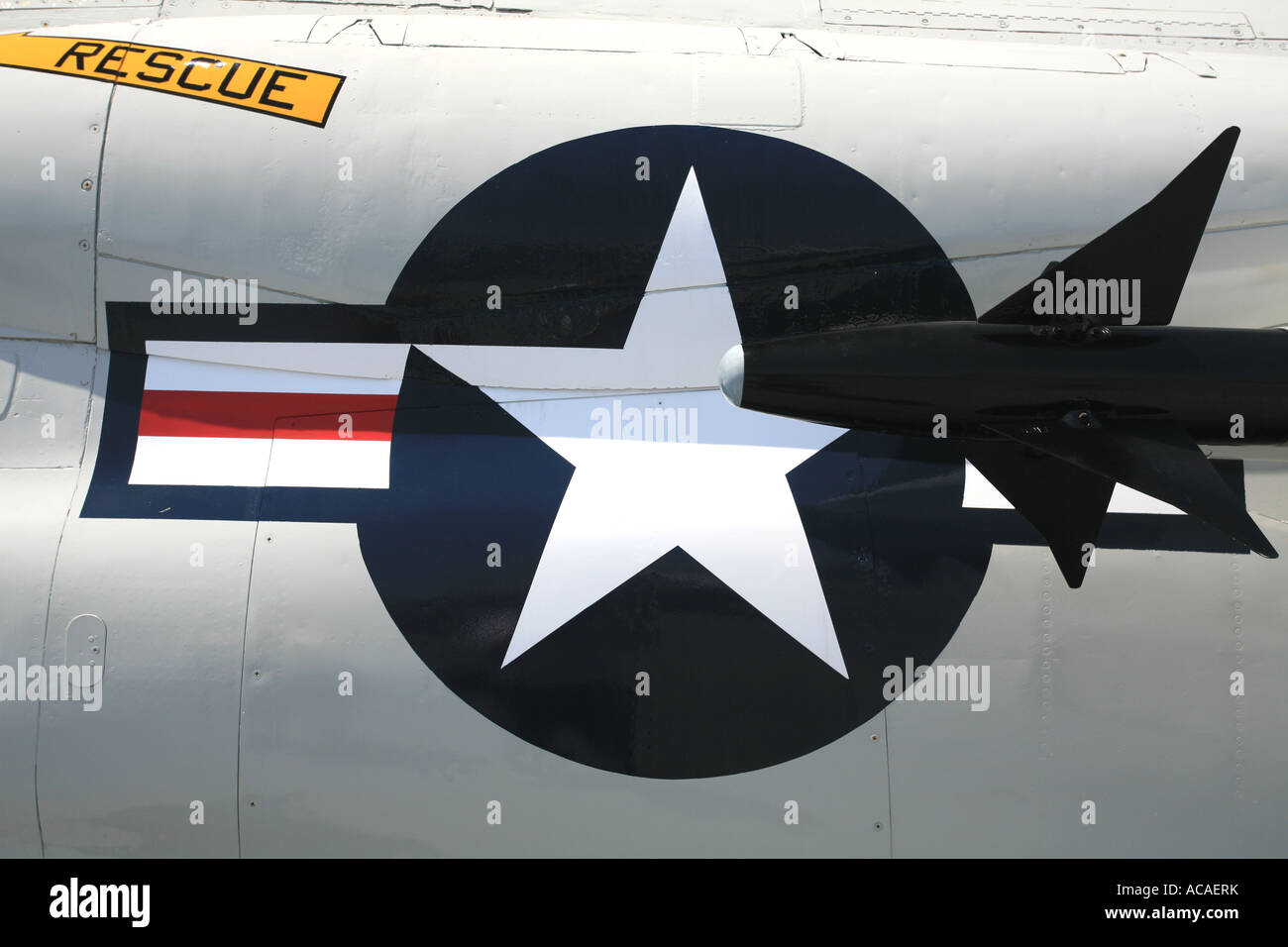 Navy sign on an aircraft aboard the carrier USS Midway, San Diego, California, USA Stock Photo