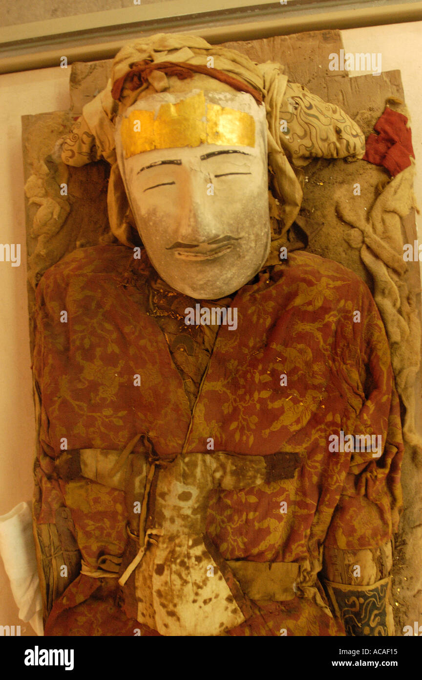 Preserved corpse in the Xinjiang Regional museum Urumqi China on the Silk Road 2003 - Stock Image