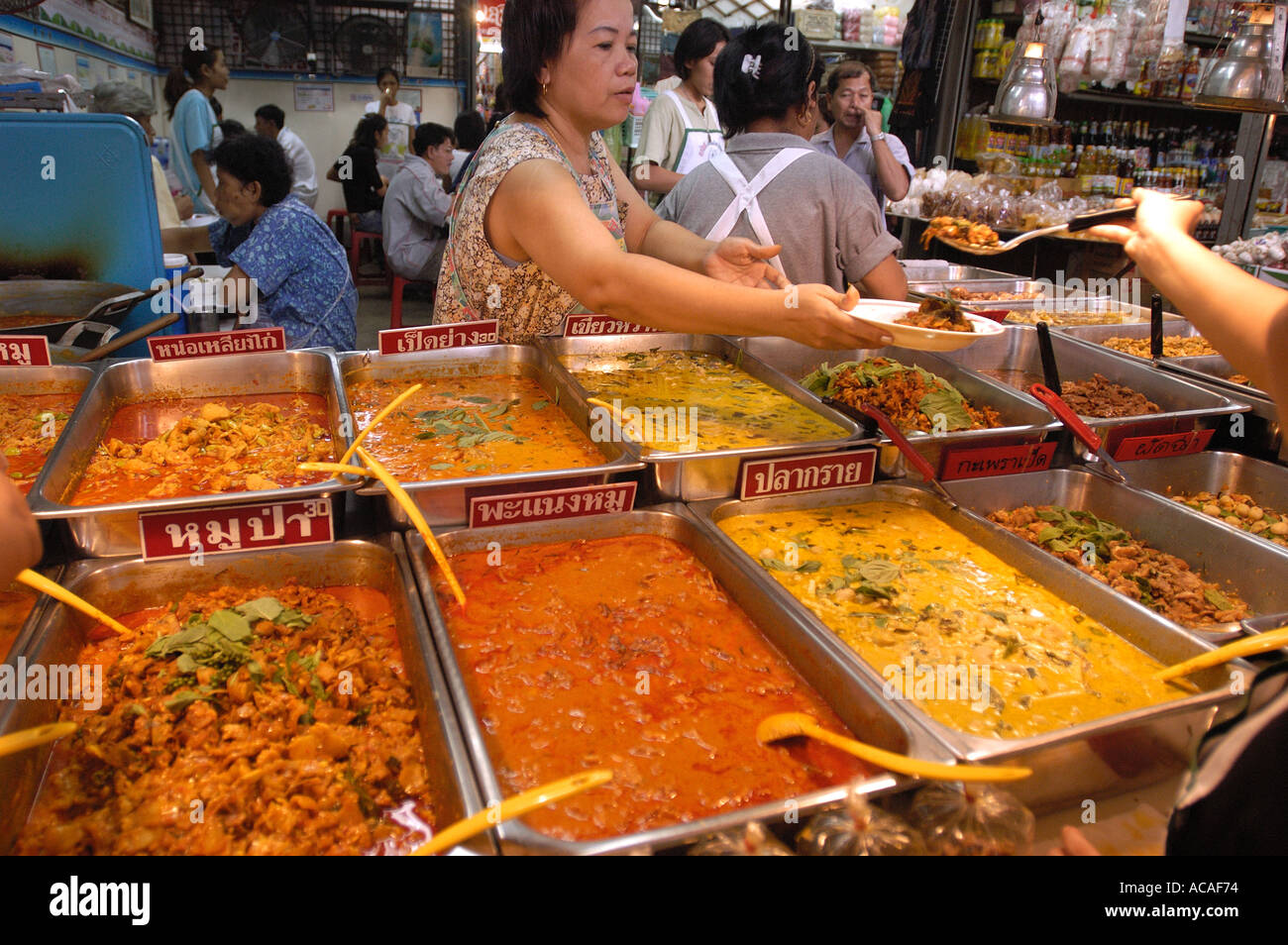 A food stall in the Chatuchak Market in Bangkok Thailand - Stock Image