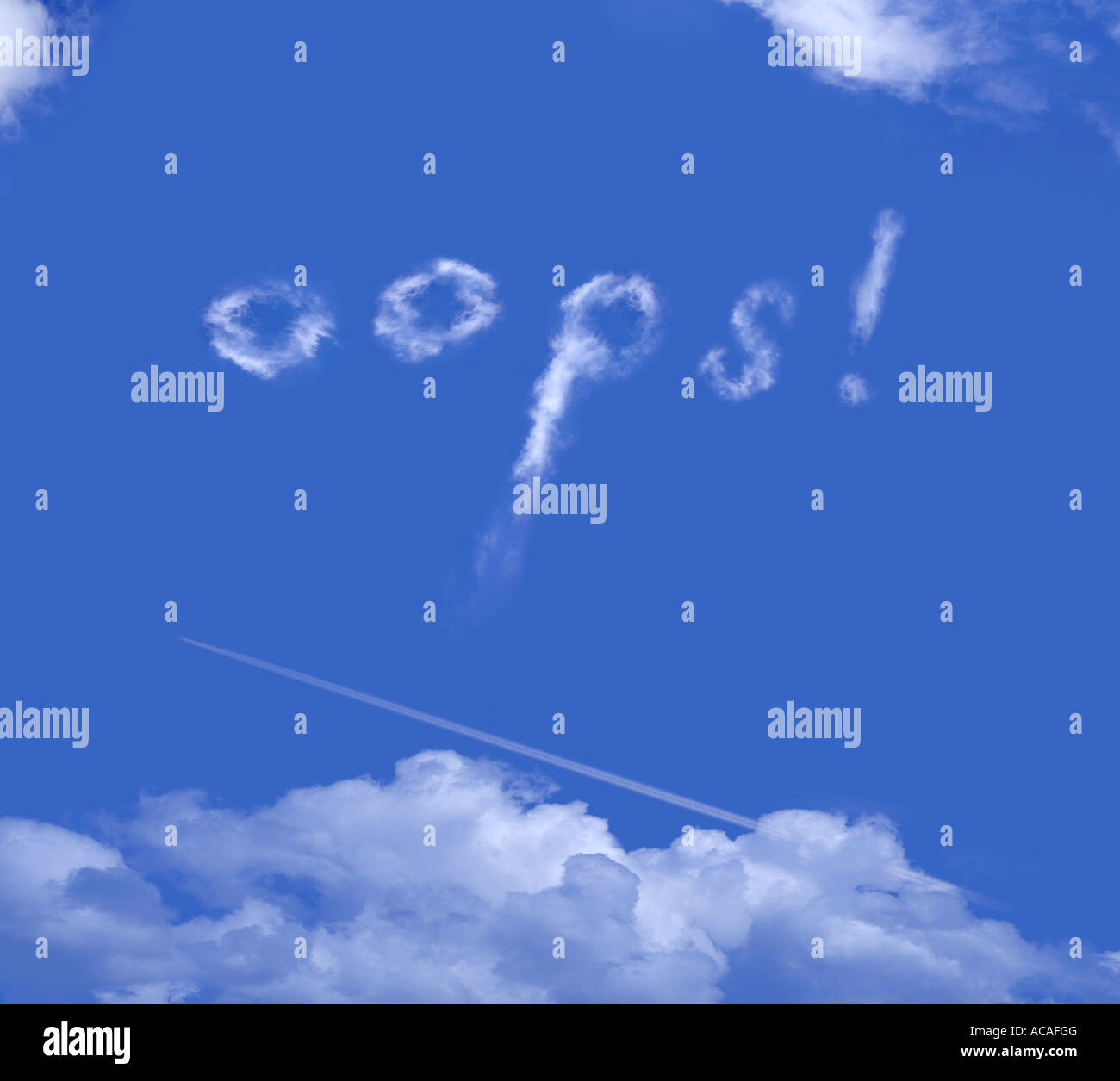 oops in clouds, words in clouds, lettering, letters - Stock Image