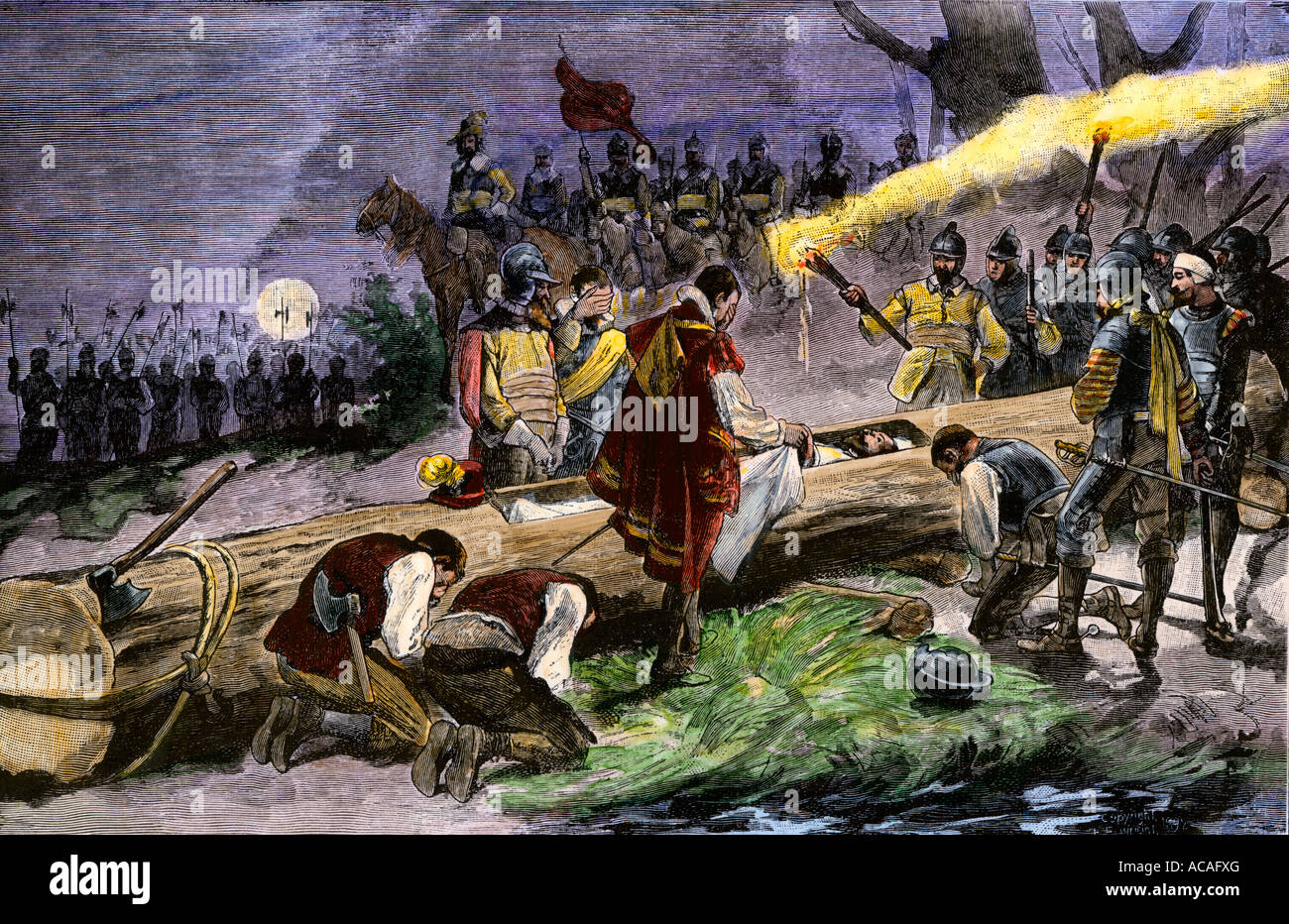 Burial of DeSoto in the Mississippi River to keep his death secret from hostile Native Americans 1542. Hand-colored - Stock Image
