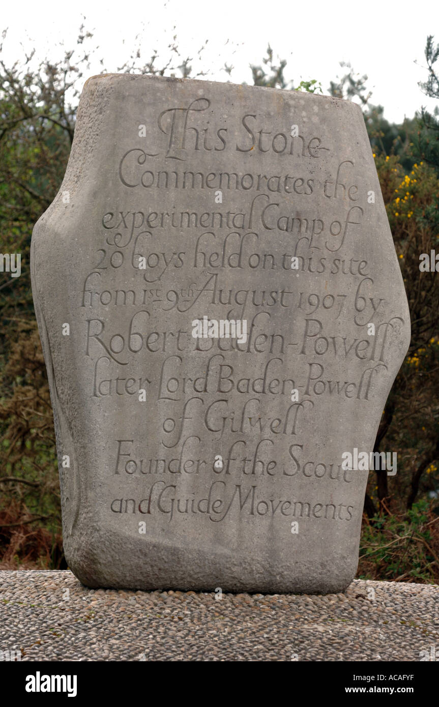 Commemorative stone marking the spot where Lord Baden Powell is said to have had the first Scout camp, Britain UK - Stock Image