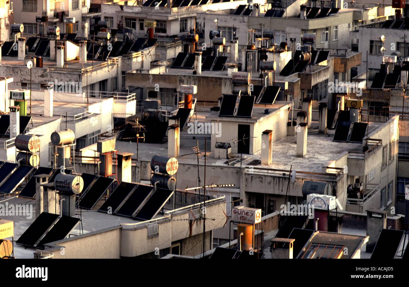 Turkey Antalya solar panels on roofs - Stock Image