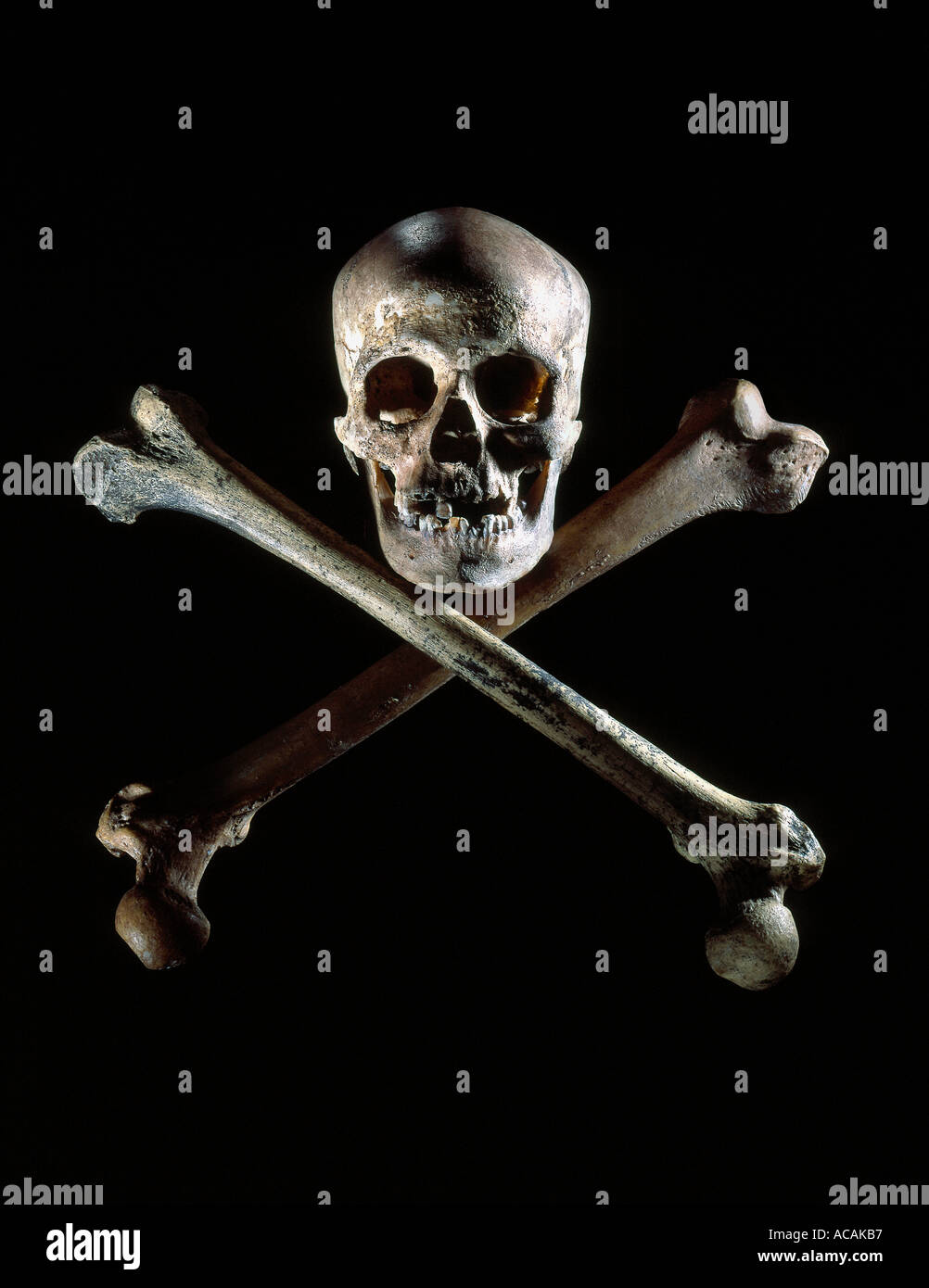 Skull Crossbones on black background - Stock Image