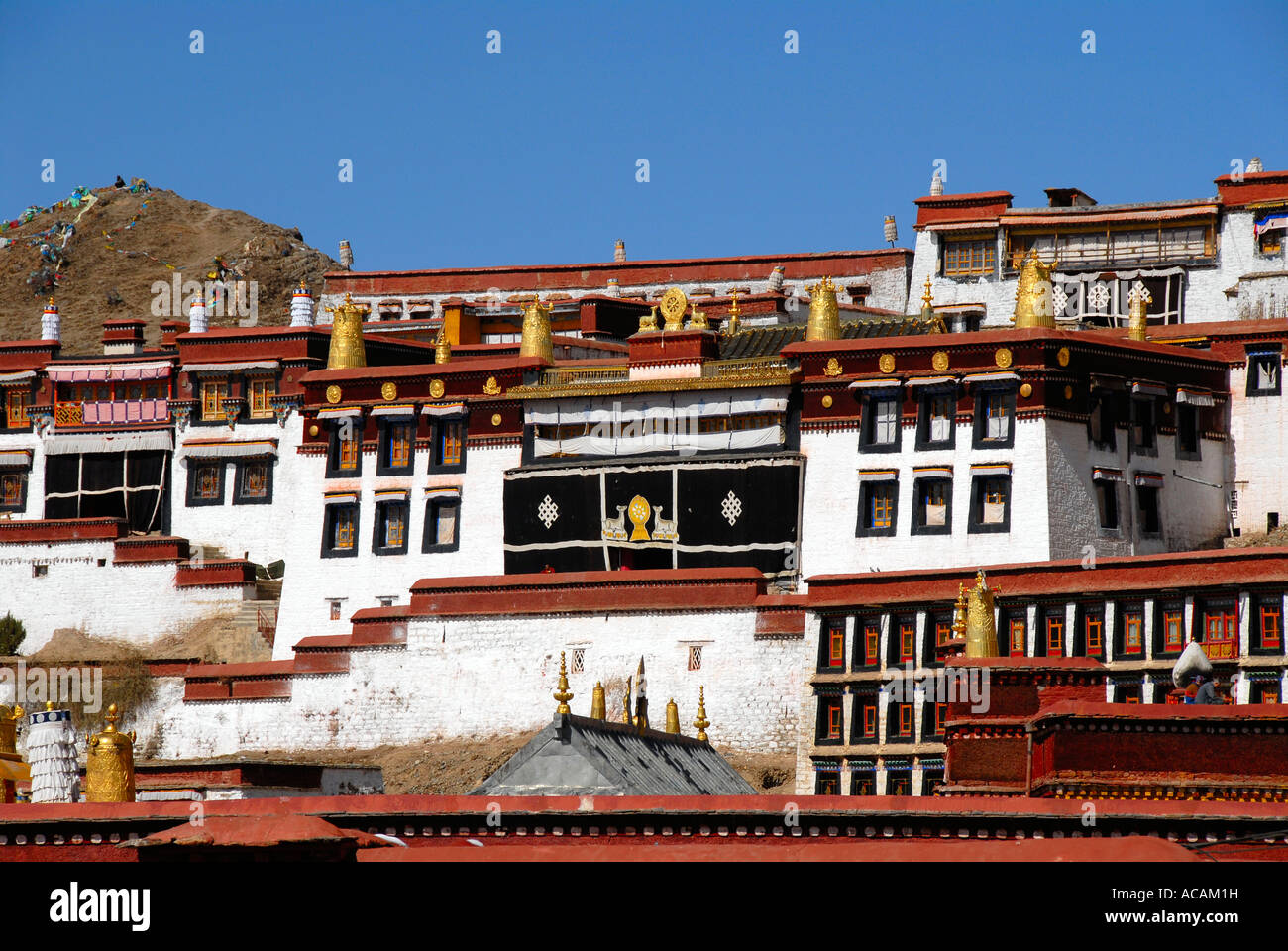 Tibetan Buddhism closely nested temples Ganden monastery Tibet China - Stock Image
