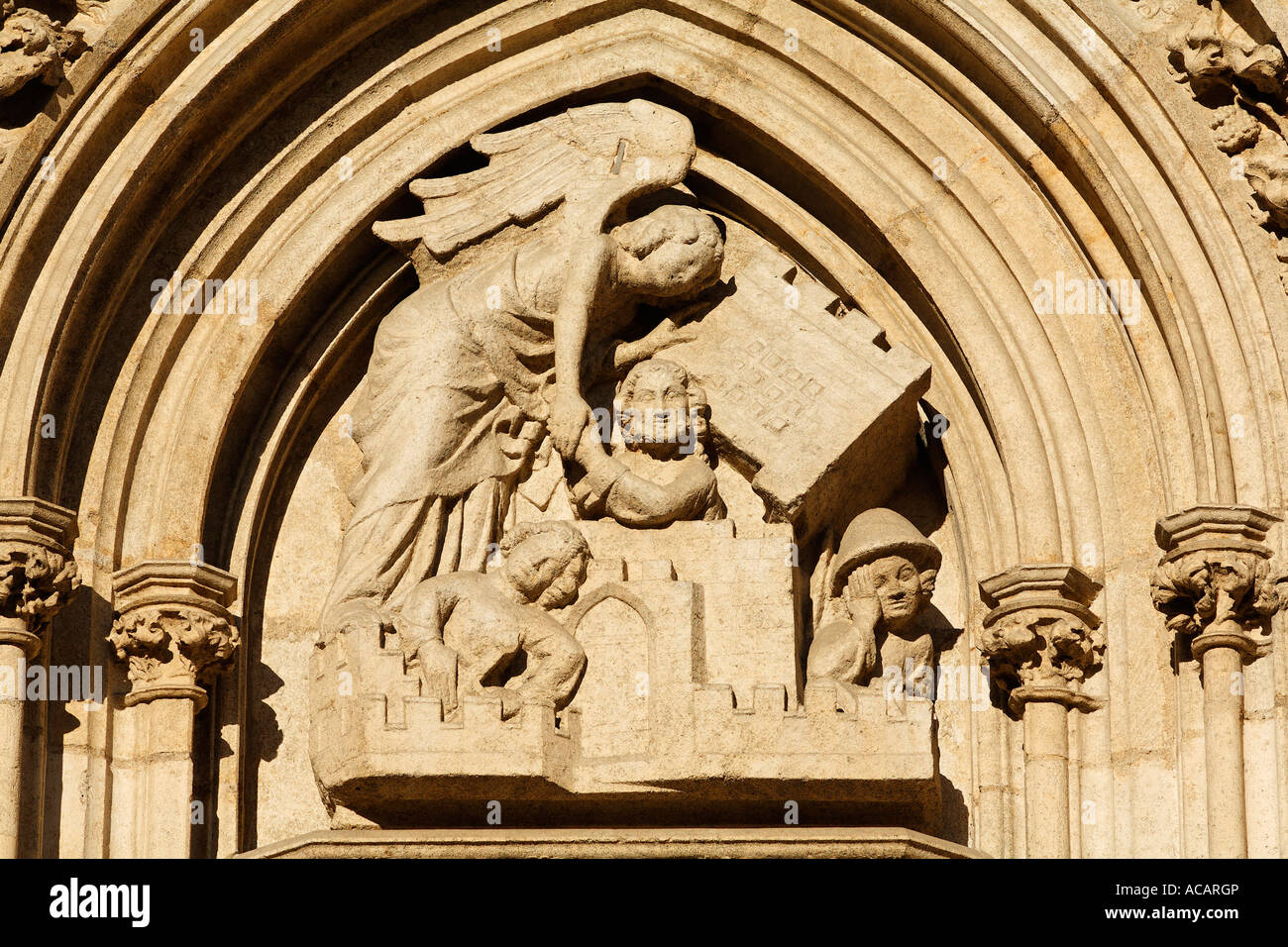 Tympanum relief at southern west portal of St. Peter cathedral, Regensburg, Upper Palatinate, Bavaria, Germany - Stock Image