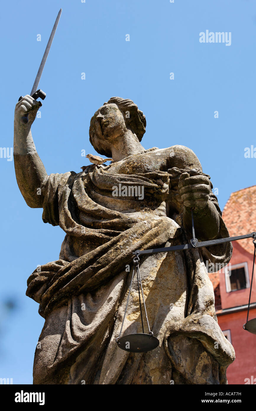 Justitia fountain on Haidplatz, Regensburg, Upper Palatinate, Bavaria, Germany - Stock Image