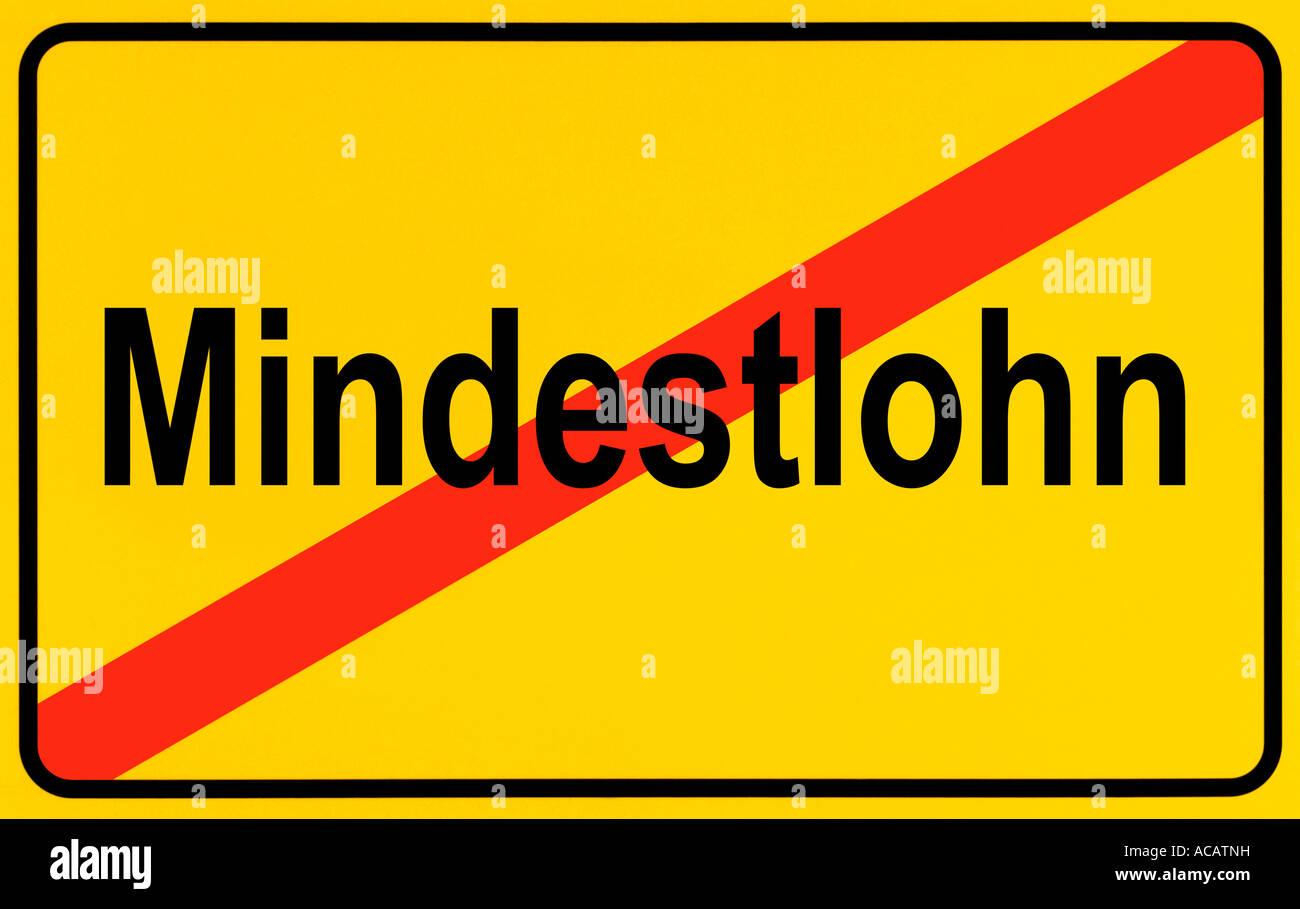 German city limits sign symbolising end of minimum wage Stock Photo