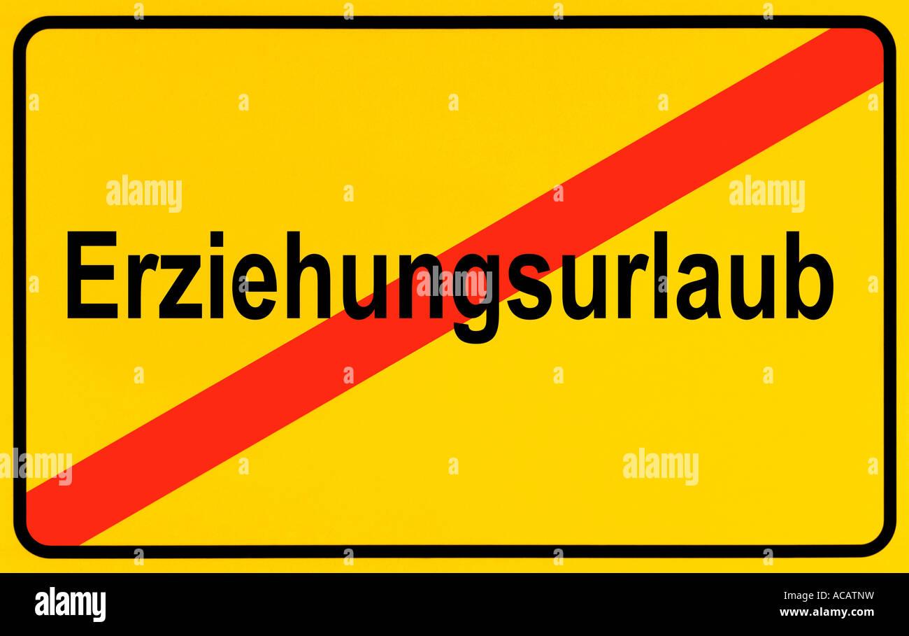 German city limits sign symbolising end of parental leave - Stock Image
