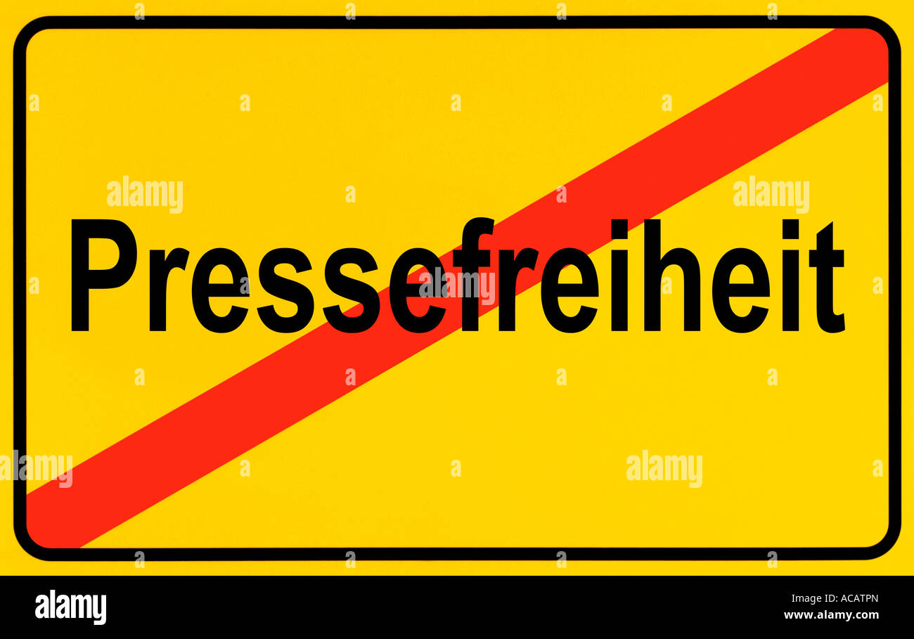 German city limits sign symbolising end of freedom of the press - Stock Image