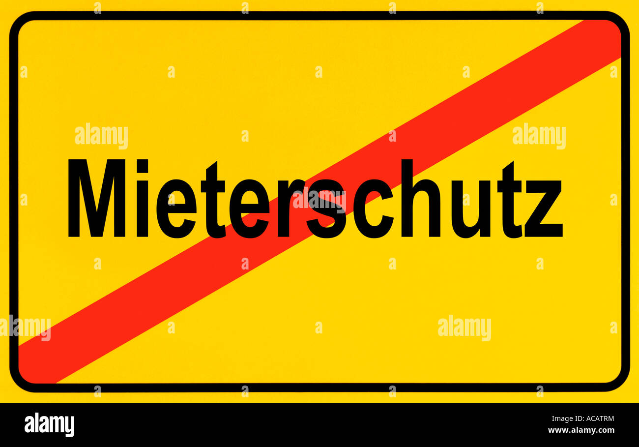 German city limits sign symbolising end of protection of tenants - Stock Image