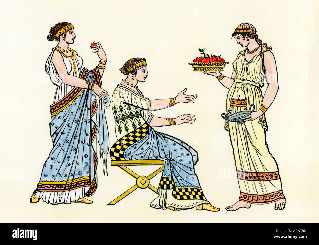 Ancient Greek ladies and attendant serving fruit. Hand-colored woodcut - Stock Image