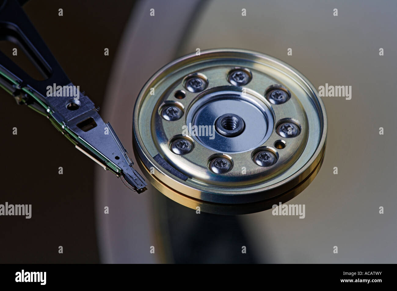Harddisc, inside, platter, read-write head, actuator arm Stock Photo