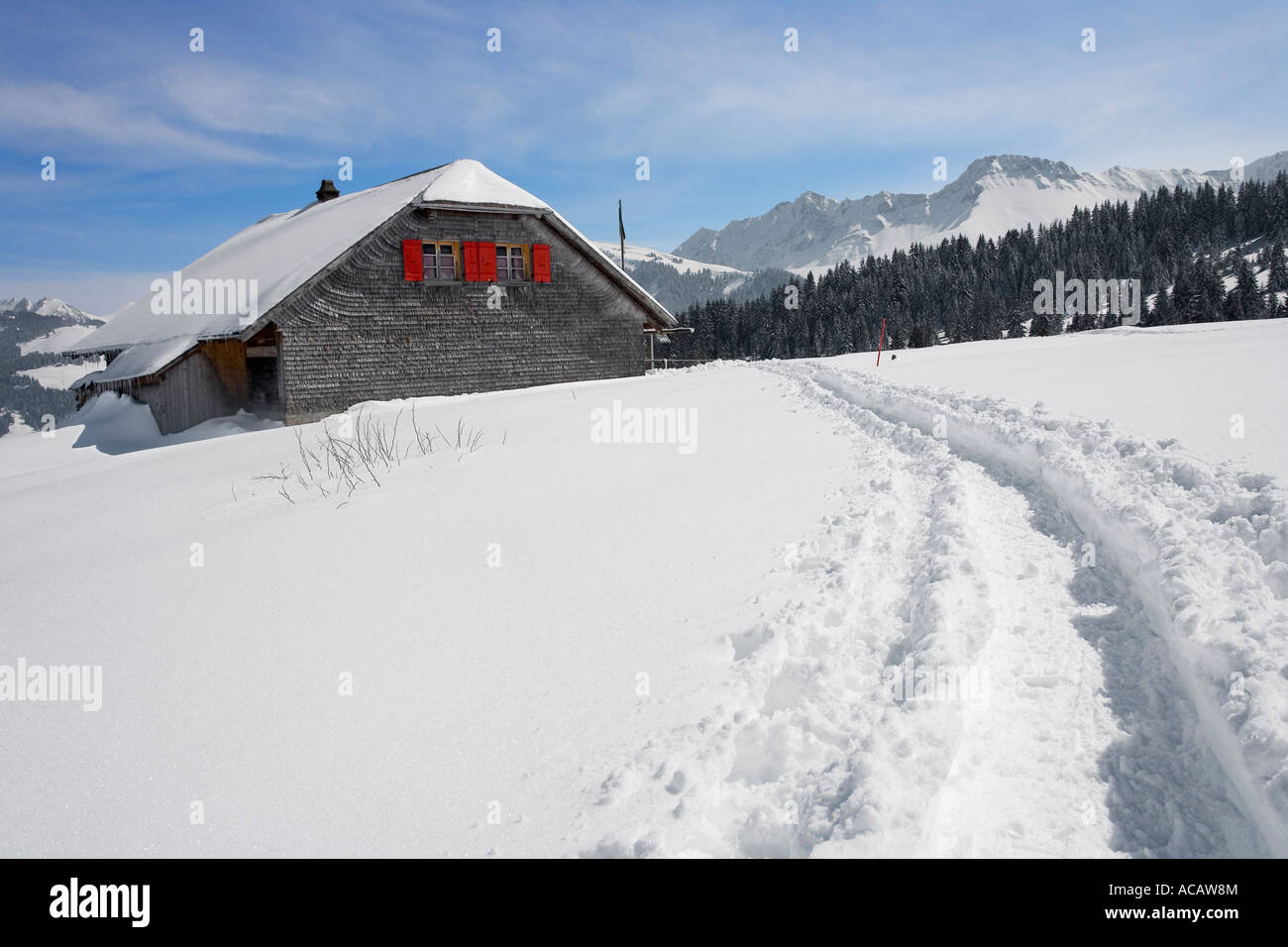 Trace of snow shoe hikers, Canton of Fribourg, Switzerland - Stock Image