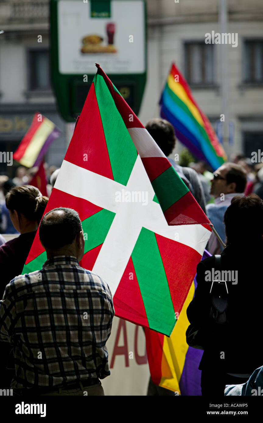 71e0735332 Basque national flag the Ikurrina backlit during political demonstration in  central Bilbao - Stock Image