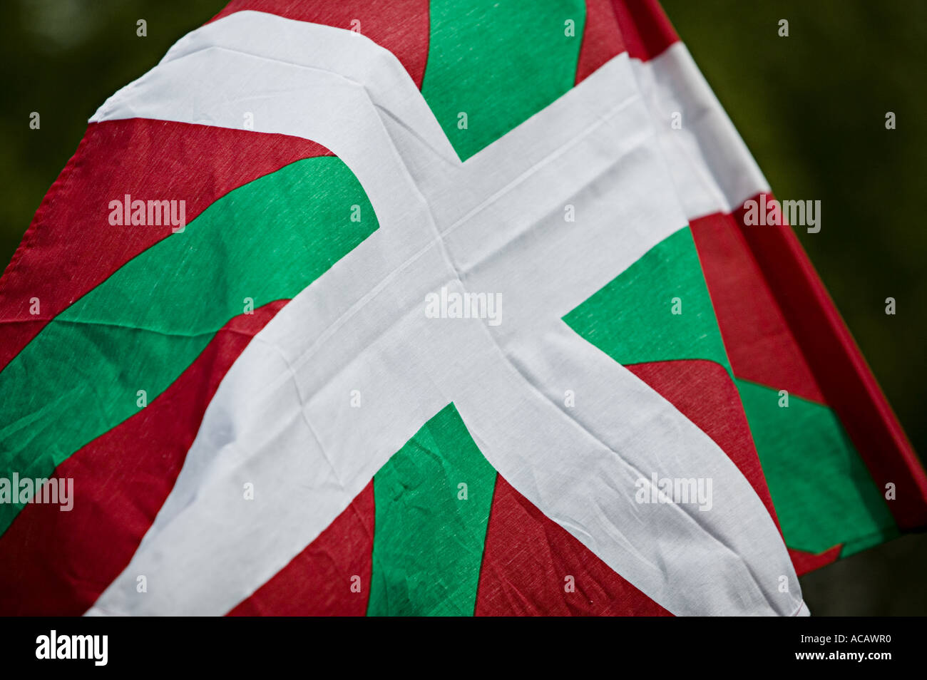 9818d8210e Basque national flag the Ikurrina during political demonstration in central  Bilbao - Stock Image