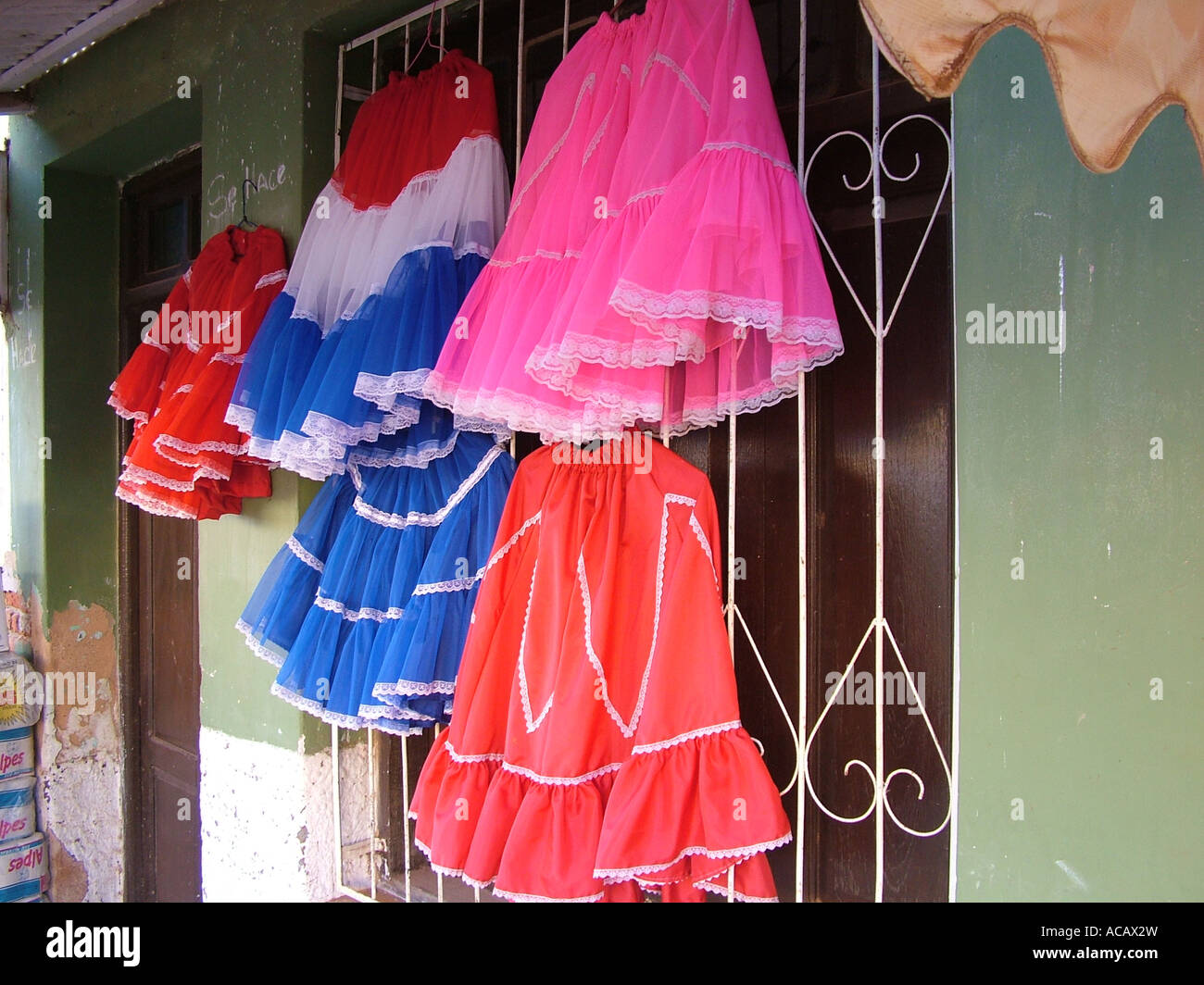 Traditional colorful skirts at a shop, Concepcion, Paraguay - Stock Image