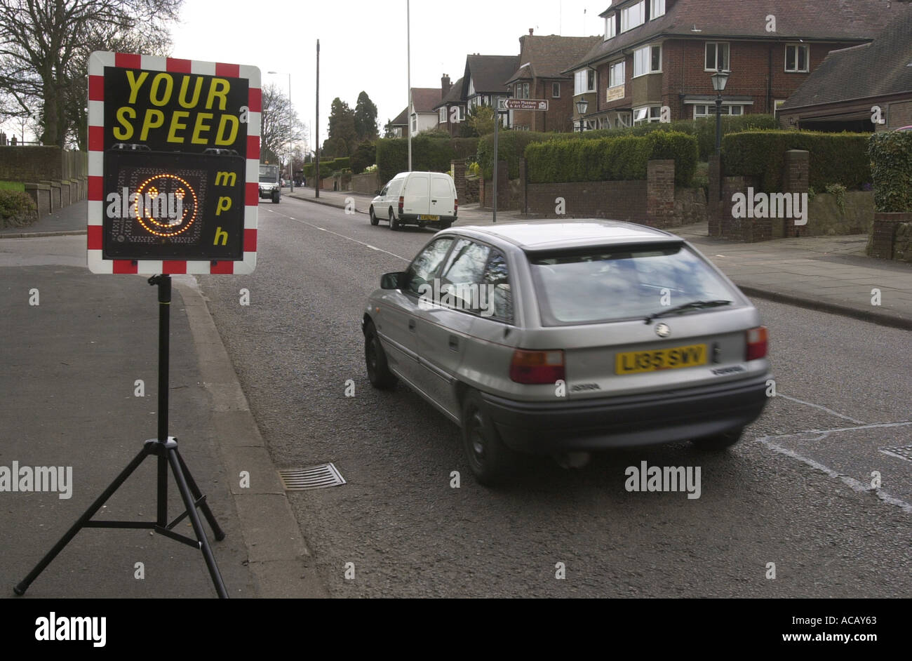 A portable speed indication device SID shows a motorist that he is within the speed limit UK - Stock Image