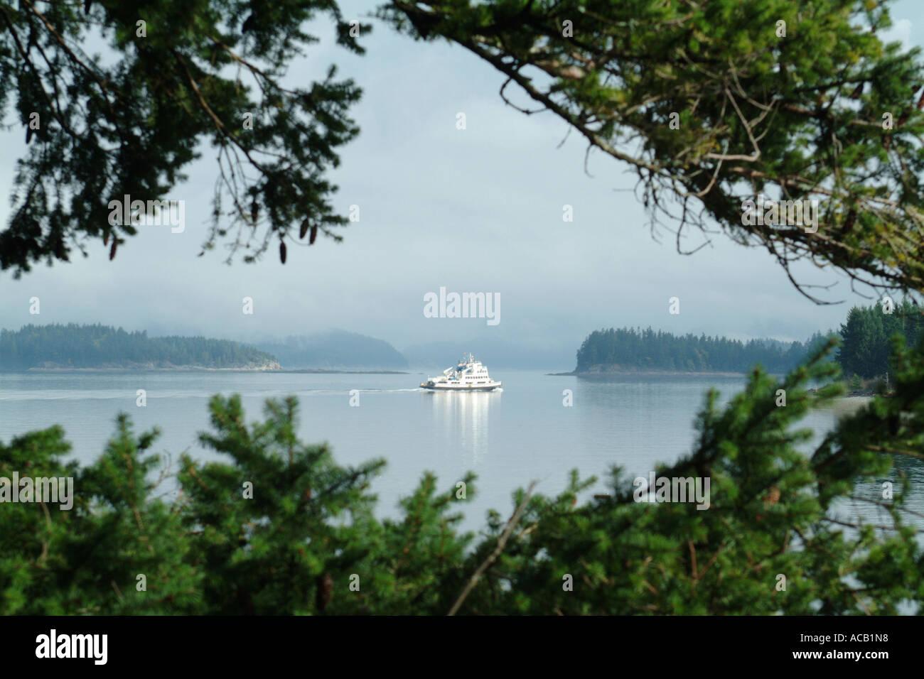 Heriot Bay ferry looking towards Desolation Sound Quadra Island British Columbia BC Canada - Stock Image