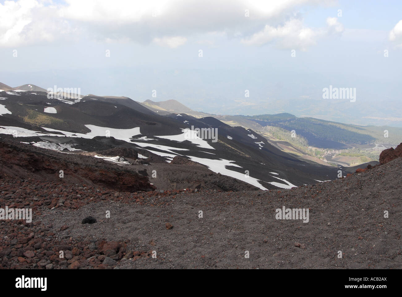 Snow fields near the summit of the volcano Mount Etna - Stock Image