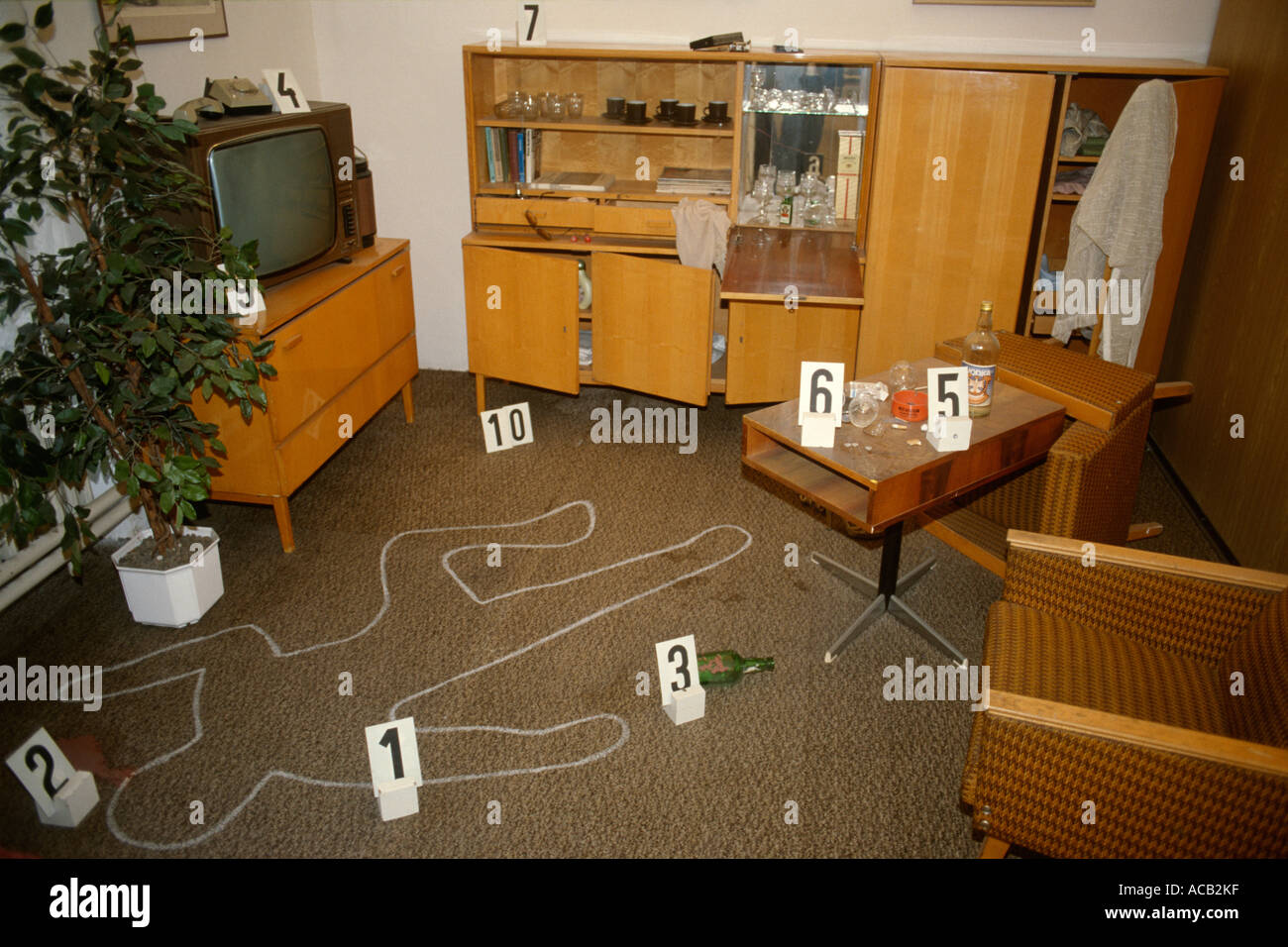 Prague Czech Republic Murder crime scene exhibit in the Police Museum - Stock Image