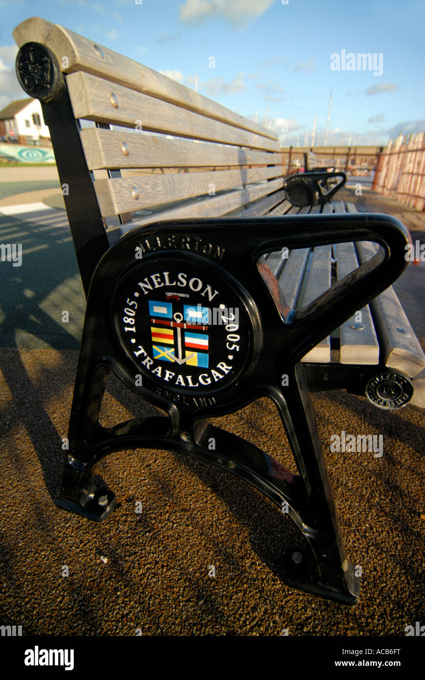 Bench at Shoreham by sea West Sussex with commemorative plaque 200 years since Nelson's victory at Trafalgar - Stock Image