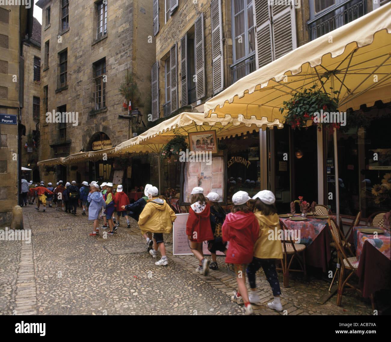 Sarlat-la-Caneda schoolchildren,Dordogne,France,Europe - Stock Image