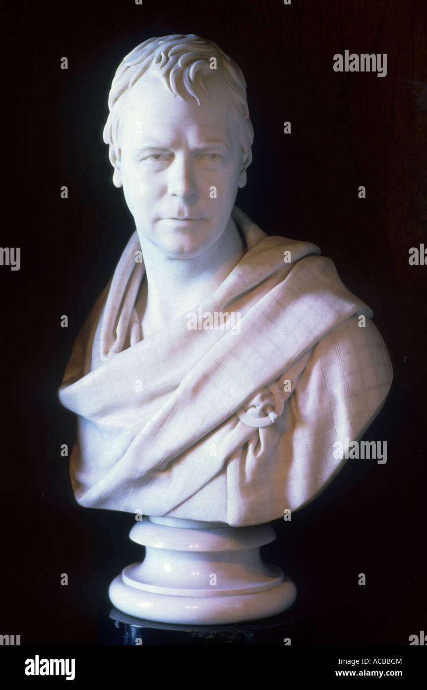Abbotsford, Bust of Sir Walter Scott by Chantrey, art, sculpture, Scottish Borders Region, Scotland, UK, home of - Stock Image