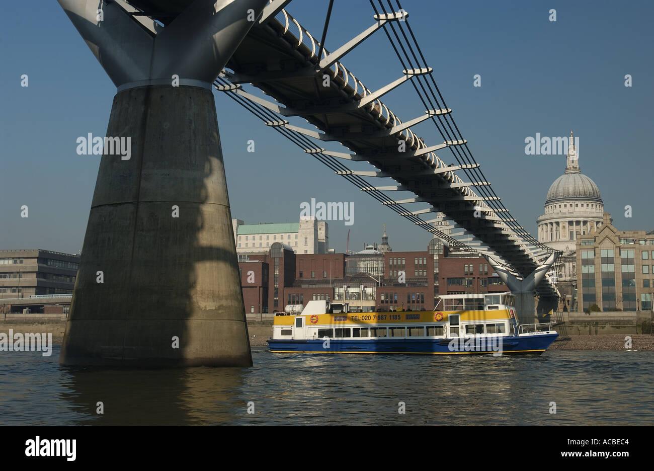 Millennium Bridge St Pauls Cathedral London England UK - Stock Image