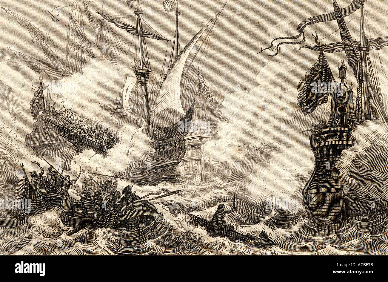 Naval combat at Lepanto Nafpaktos Greece 1571 - Stock Image