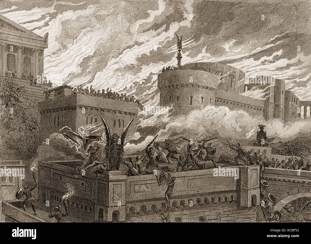 The last day of Numancia Spain 134 BC.  Scipio Aemilianus Africanus lays siege to Numantia - Stock Image