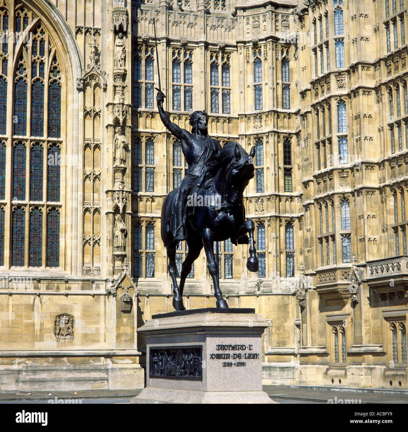 king richard the lionheart richard the 1st outside westminster houses of parliament london england great britain editorial use o - Stock Image